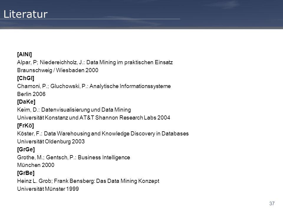 Literatur [AlNi] Alpar, P; Niedereichholz, J.: Data Mining im praktischen Einsatz. Braunschweig / Wiesbaden 2000.